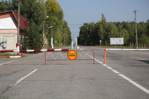 Checkpoint at the 30km zone border