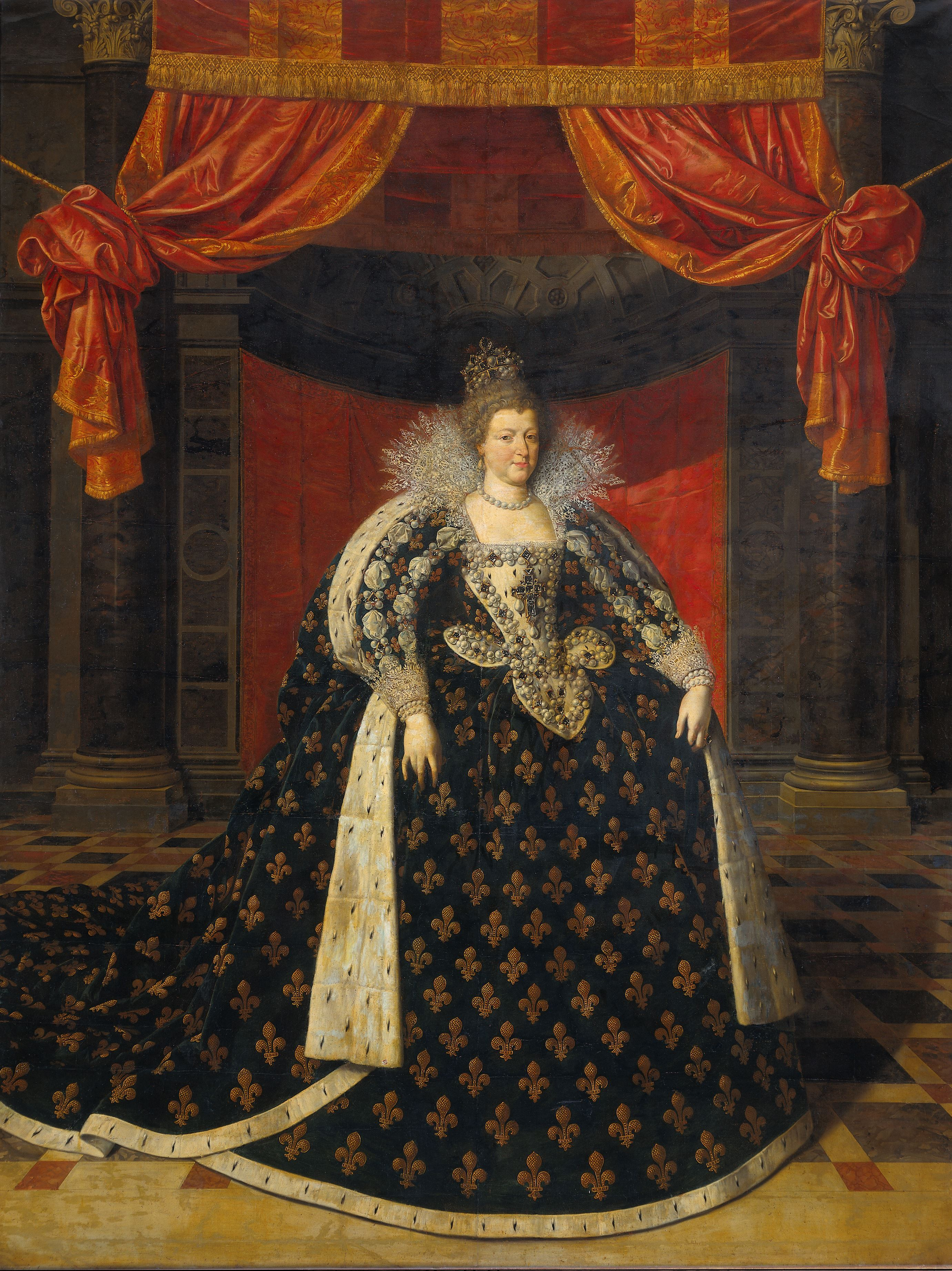 Fig 1 Marie de Médicis Queen Mother of France in robes of state Workshop of Frans Pourbus II circa 1610 Oil on canvas 282 cm x 215 cm Rijksmuseum Amsterdam SK A 870