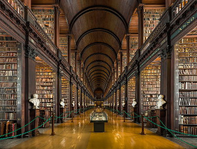 The Long Room, Trinity College Dublin, Ireland. Photo by David Iliff, CC-BY-SA 3.0